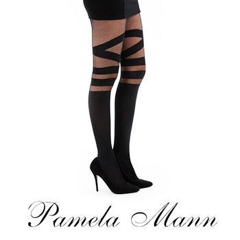 【摩達客】英國進口義大利製【Pamela Mann】多環綁紋印花彈性褲襪