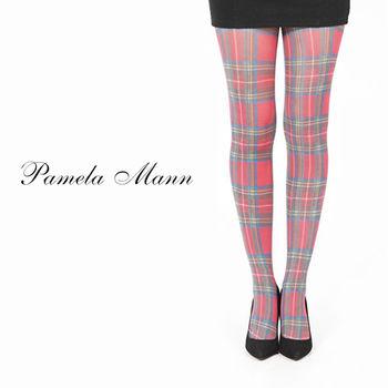 【摩達客】英國進口義大利製【Pamela Mann】紅綠方格紋印花彈性褲襪