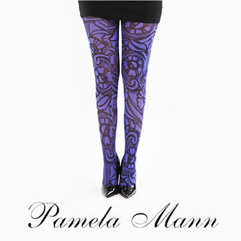 【摩達客】英國進口義大利製【Pamela Mann】花藤紫色圖紋印花彈性褲襪