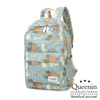 DF Queenin日韓 - 韓版俏皮貓貓帆布款後背包-共2色