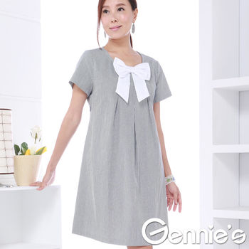 奇妮專櫃-蝴蝶結甜美風格條紋洋裝-藍