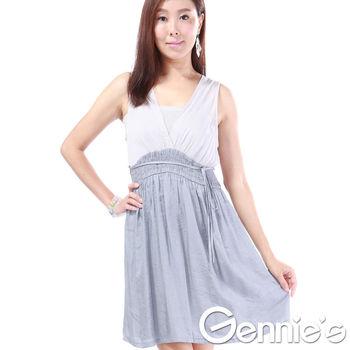奇妮專櫃-繞頸綁帶兩色拼接露背性感洋裝
