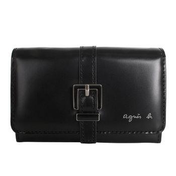 agnes b.皮帶飾邊 翻扣名片卡夾 (黑)