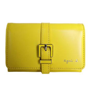 agnes b.皮帶飾邊 翻扣名片卡夾 (黃)