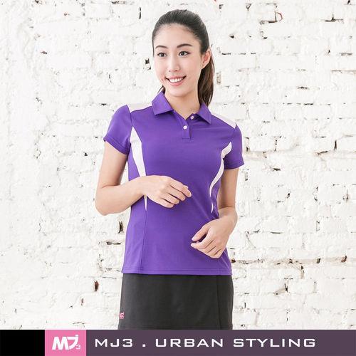 【MJ3】肩剪裁配色吸排POLO衫-女(深情紫)