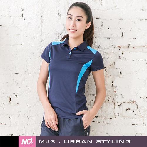 【MJ3】肩剪裁配色吸排POLO衫-女(深海藍)