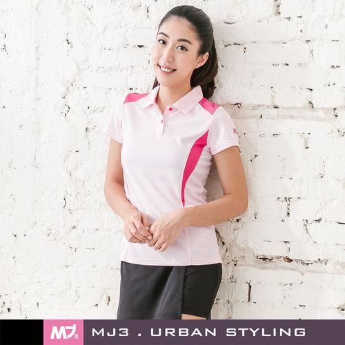 【MJ3】肩剪裁配色吸排POLO衫-女(輕粉紅)