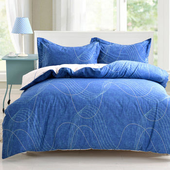 《HOYACASA 動感旋律》雙人四件式純棉兩用被床包組(天絲入棉30%)