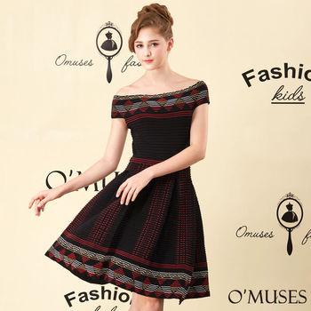 【OMUSES】刺繡針織一字領洋裝28-1492(S-M)