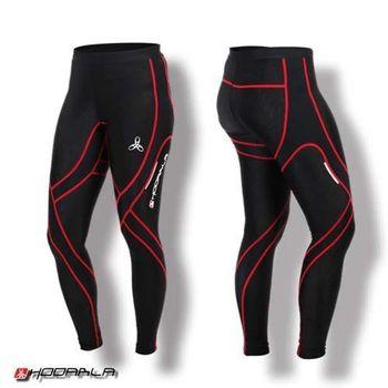 【HODARLA】蛹男女壓縮緊身長褲-慢跑 路跑 夜跑 內搭褲 緊身褲 束褲 紅黑  特殊壓花布料