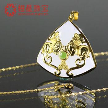 恆星珠寶招財貔貅黃金白玉墜