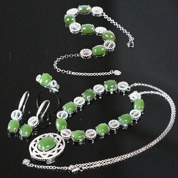 恆星珠寶天然和闐菠菜綠碧玉全套組
