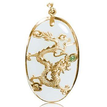 恆星珠寶 龍騰耀天然和闐白玉黃金墜