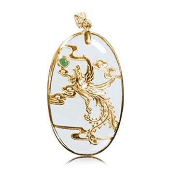 恆星珠寶 舞鳳凰天然和闐白玉黃金墜