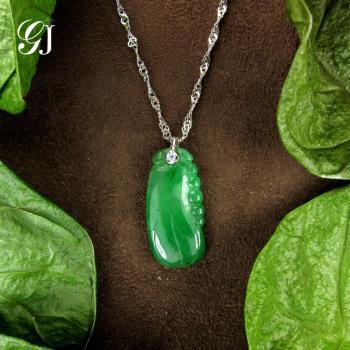 [晉佳珠寶] Gemdealler Jewellery 天然緬甸A貨翡翠葫蘆 K金鑽石墜飾