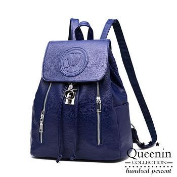 DF Queenin日韓 - 韓版LOGO仿皮款後背包-共3色