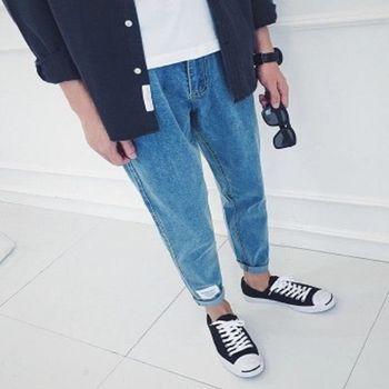 【協貿國際】純色百搭牛仔褲男士韓版修身小腳長褲單件