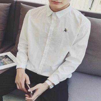 【協貿國際】香蕉繡花長袖襯衫男士韓版修身型單件