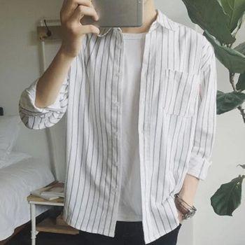 【協貿國際】豎條紋長袖襯衫韓版小清新男士中長款防曬上衣單件