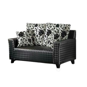 Bernice-艾莉森菱格紋皮雙人座沙發(送抱枕)