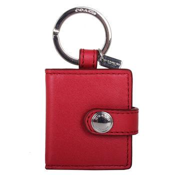 COACH-  皮革迷你相片鑰匙圈紅銀鎖圈