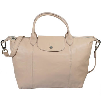 Longchamp Le Pliage Cuir 折疊小羊皮短把兩用包.粉膚 #1515