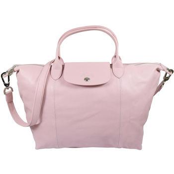 Longchamp Le Pliage Cuir 折疊小羊皮短把兩用包.粉紅 #1515