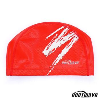 熱浪Heatwave 防水矽膠泳帽 彈性雙材質-紅色H35X