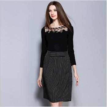 (現貨+預購 RN-girls)-歐美秋季新品蕾絲網紗拼接上衣+條紋裙子套裝