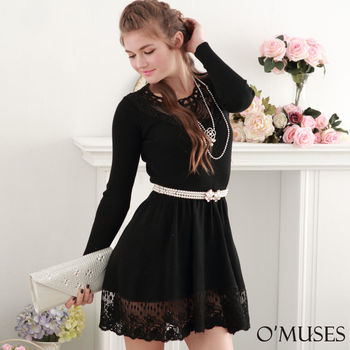 【OMUSES】蕾絲針織宴會洋裝28-7213(S-M)