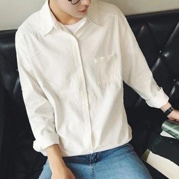【協貿國際】純色修身襯衫男士簡潔百搭休閒長袖襯衣單件