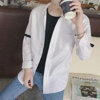 【協貿國際】新品織帶拼接長袖襯衫男士韓版修身白色襯衣單件