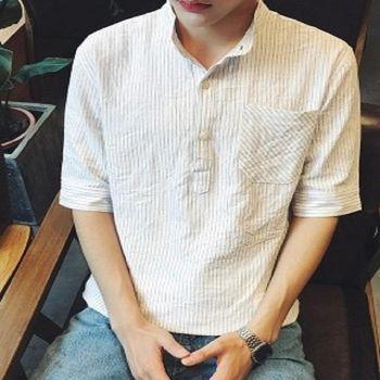 【協貿國際】男士立領修身短袖襯衫韓版潮流單件