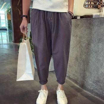 【協貿國際】寬鬆九分休閒褲寬鬆男士哈倫麻棉褲蘿蔔褲男單件