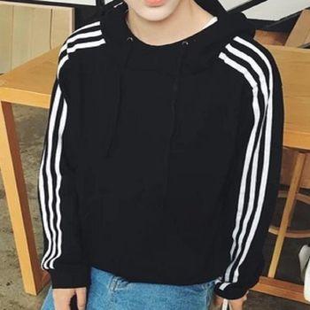 【協貿國際】休閒連帽外套男士韓版三條槓潮流套頭長袖衛衣單件