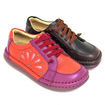 【GREEN PHOENIX】多彩拼接釘扣雷射雕花手縫套入式全真皮平底氣墊休閒包鞋-磚紅色、黑色