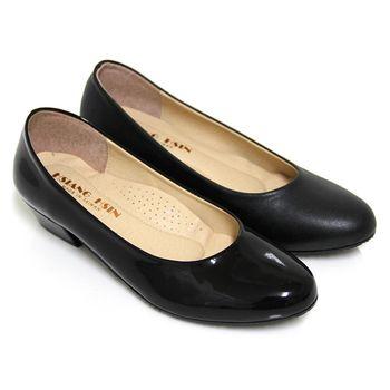 【Pretty】俐落簡約中粗跟包鞋-黑色、黑亮