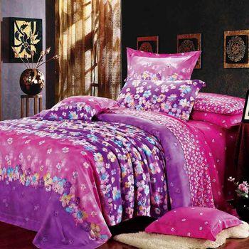 【幸運草】如花似海 100%柔嫩天絲60支加大四件式床包被套組