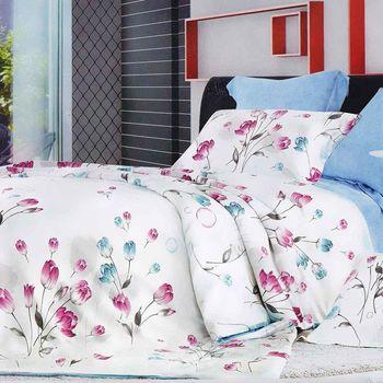【幸運草】夏繁花 100%柔嫩天絲60支特大四件式床包被套組