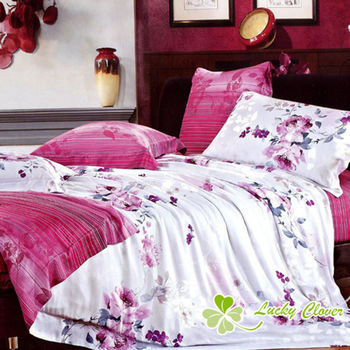 【幸運草】花與夢 100%柔嫩天絲60支特大四件式床包被套組