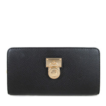 MICHAEL KORS HAMILTON品牌金色大鎖頭鵝卵石紋黑色皮革拉鏈長夾