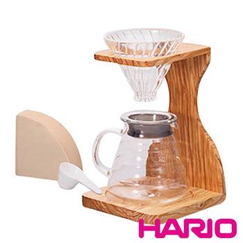【HARIO】V60玻璃濾杯木架咖啡壺組 VSS-1206-OV