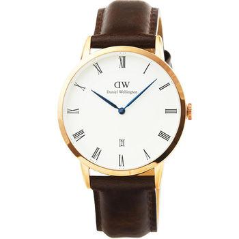 DW Daniel Wellington 簡約時尚腕錶-復古咖啡色皮帶金框34mm / 1133DW
