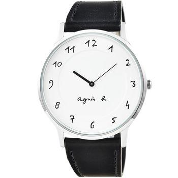 agnes b. 小B簡約時尚皮帶腕錶-白 / BJ5004X1 (大型)