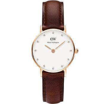 DW Daniel Wellington / DW00100059 / Classy St Andrews 優雅施華洛世奇水晶皮革腕錶 玫瑰金框x棕 26mm