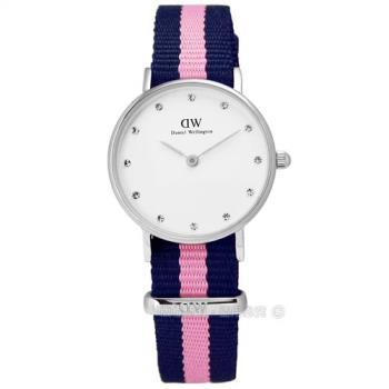 DW Daniel Wellington / DW00100073 / Classy Winchester 活潑俏麗溫徹斯尼龍腕錶 藍x粉紅 26mm