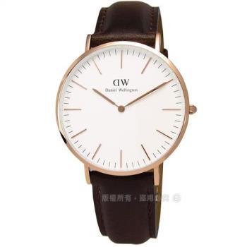 DW Daniel Wellington★贈保護貼DW00100009 / Classic Bristol 現代俐落紳士真皮腕錶 白x玫瑰金 40mm