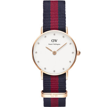 DW Daniel Wellington Classic Oxford 雅痞學院風尼龍女錶 26mm 藍x紅 / DW00100064