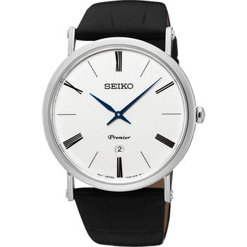 SEIKO 精工 Premier 系列超薄石英腕錶-銀/40mm 7N39-0CA0P(SKP395J1)