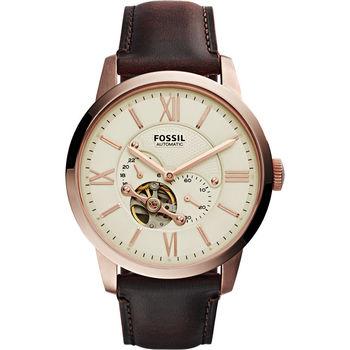 FOSSIL Townsman 爵士小鏤空機械腕錶-米x玫瑰金框/44mm ME3105